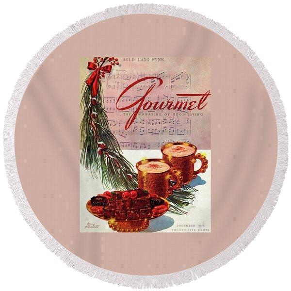 A Christmas Gourmet Cover Round Beach Towel