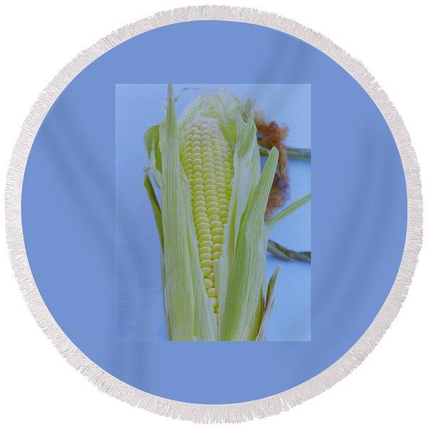 A Cob Of Corn Round Beach Towel
