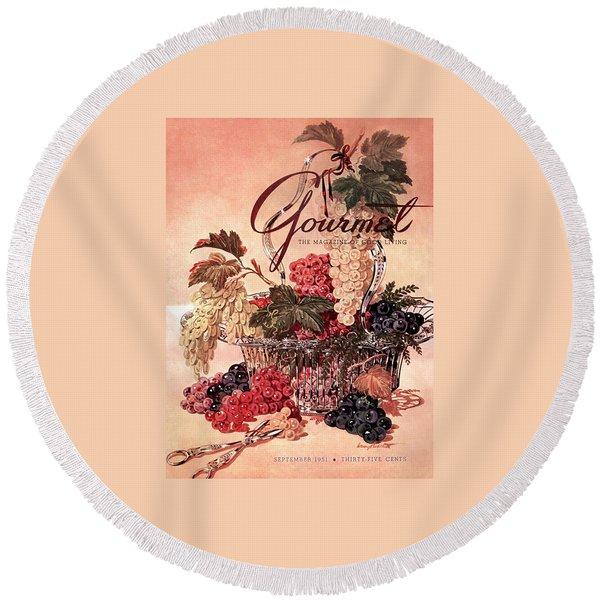 A Gourmet Cover Of Grapes Round Beach Towel