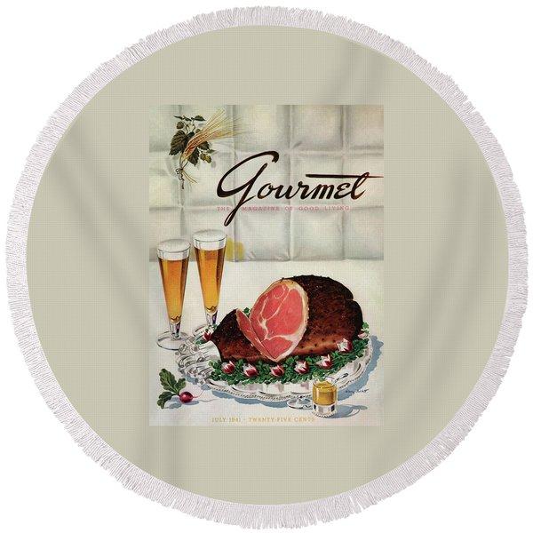 A Gourmet Cover Of Ham Round Beach Towel