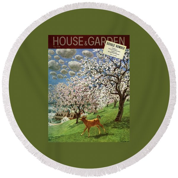 A House And Garden Cover Of A Calf Round Beach Towel
