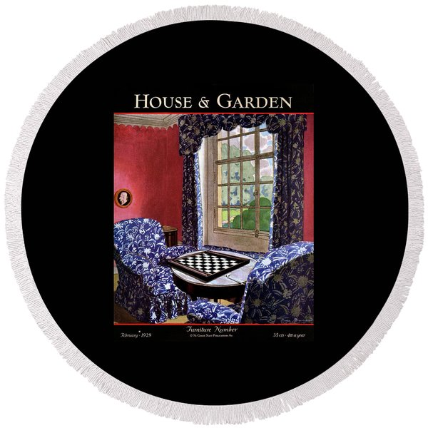 A House And Garden Cover Of A Country Living Room Round Beach Towel