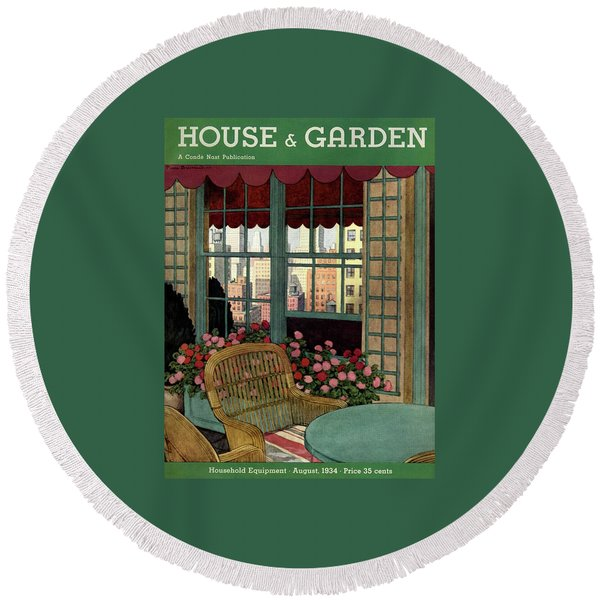 A House And Garden Cover Of A Wicker Chair Round Beach Towel
