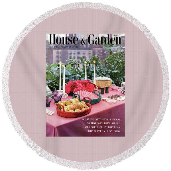 A House And Garden Cover Of Al Fresco Dining Round Beach Towel