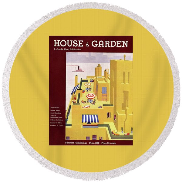 A House And Garden Cover Of An Apartment Building Round Beach Towel
