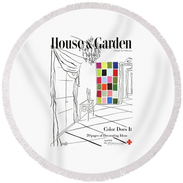 A House And Garden Cover Of Color Swatches Round Beach Towel
