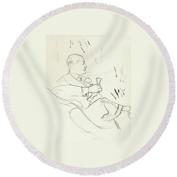 A Man With A Glass Of Wine Round Beach Towel
