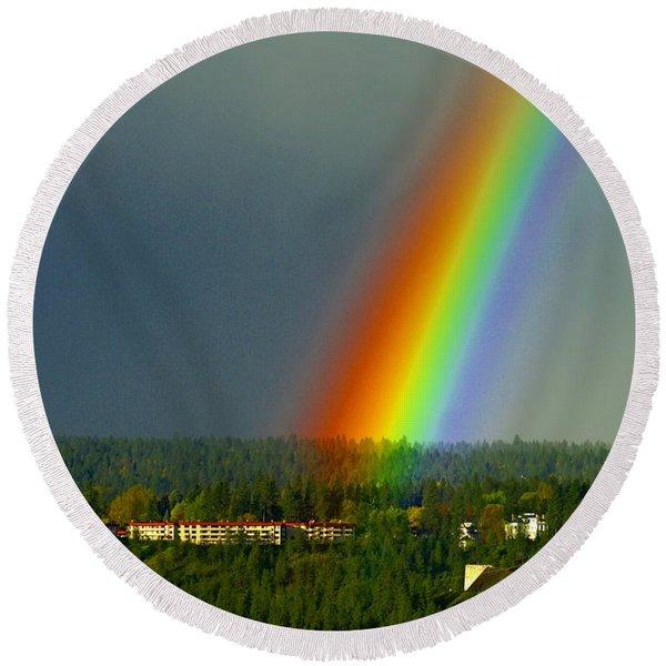 A Rainbow Blessing Spokane Round Beach Towel