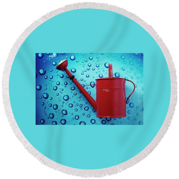 A Red Watering Can Round Beach Towel