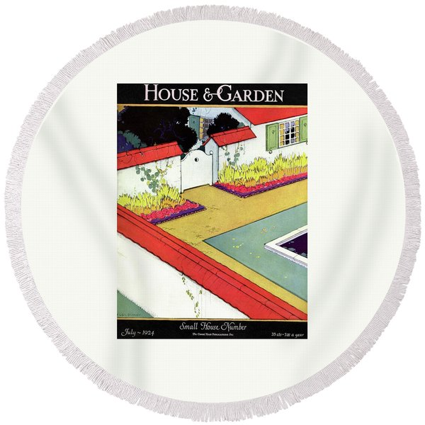 A Reflecting Pool And Garden Round Beach Towel