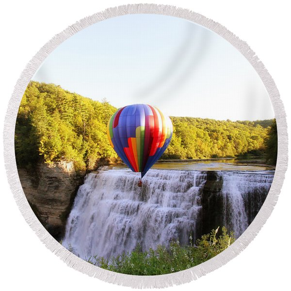 A Ride Over The Falls Round Beach Towel