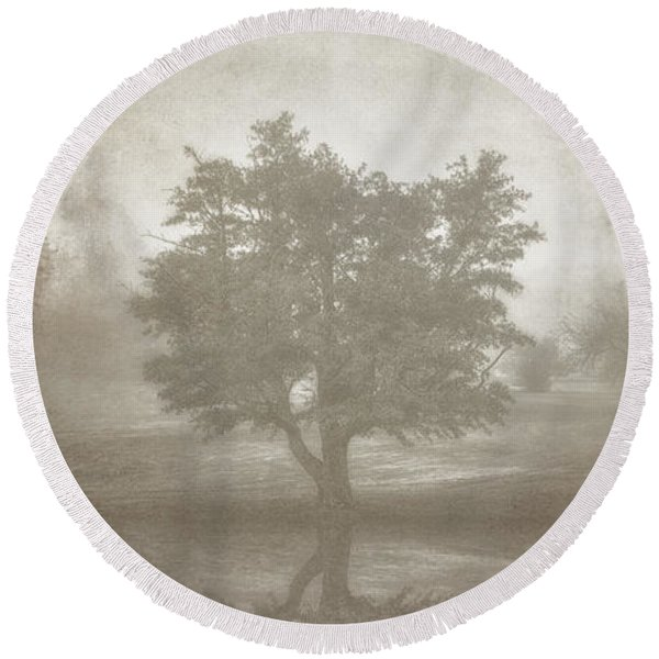 A Tree In The Fog 3 Round Beach Towel
