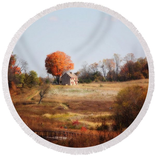 A Walk In The Meadow Round Beach Towel