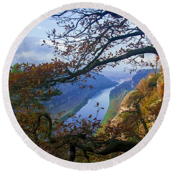 A Window To The Elbe In The Saxon Switzerland Round Beach Towel