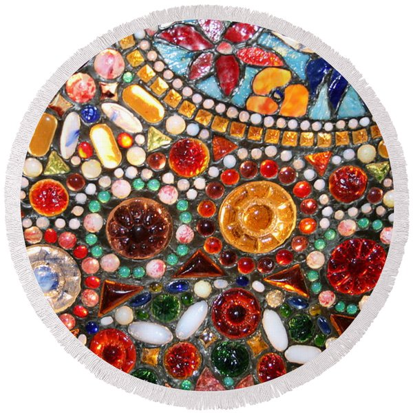 Abstract Beads Round Beach Towel