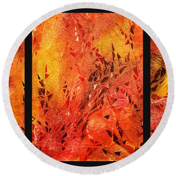 Abstract Fireplace Round Beach Towel