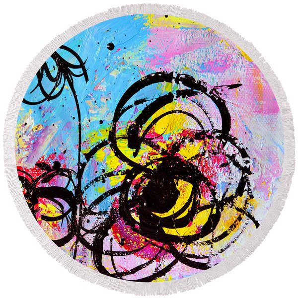 Abstract Flowers 2 Round Beach Towel