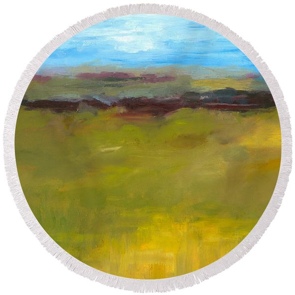 Abstract Landscape - The Highway Series Round Beach Towel