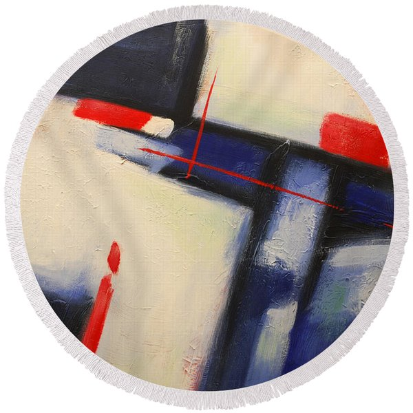 Abstract Red Blue Round Beach Towel