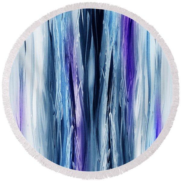Abstract Waterfall Purple Flow Round Beach Towel