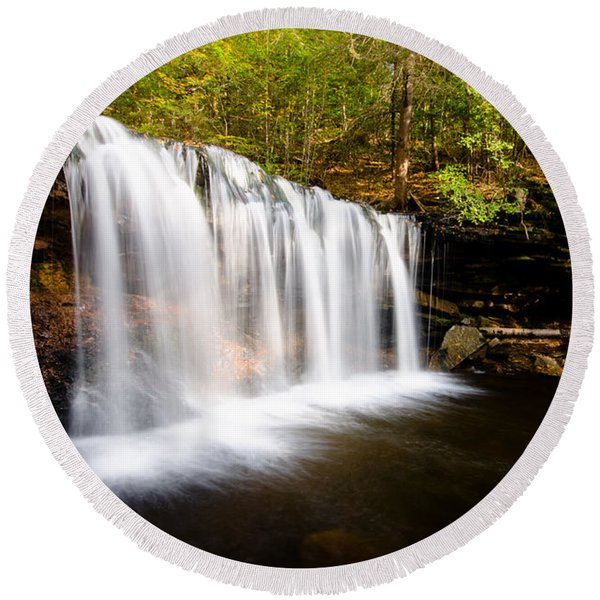 Across The Ledge Waterfall Round Beach Towel