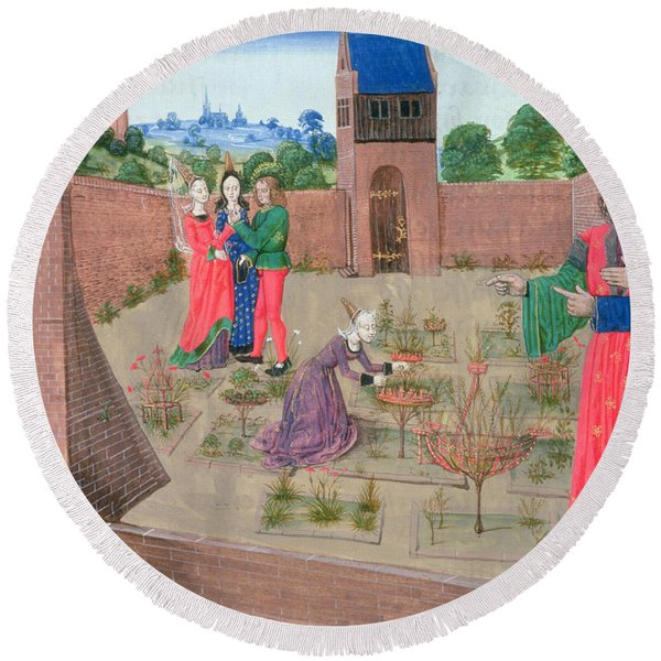 Add 19720 Fol.214 Walled Garden With A Woman Gardening And Others Gossiping, From Livre Des Round Beach Towel