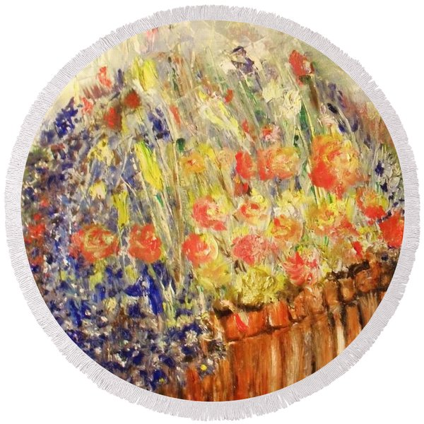 Round Beach Towel featuring the painting Adirondack Floral by Laurie Lundquist