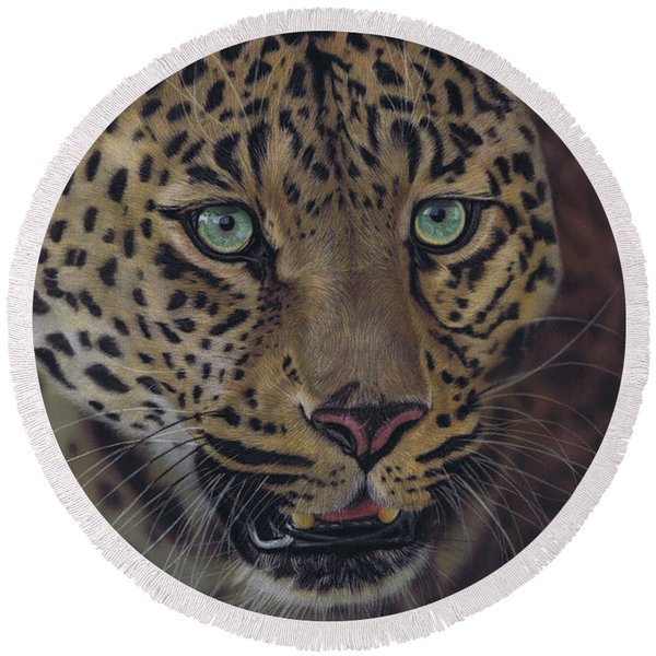 After Dark All Cats Are Leopards Round Beach Towel