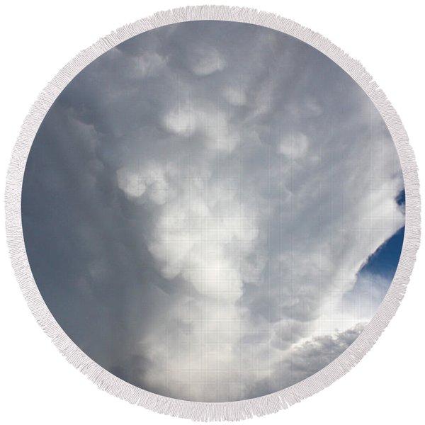 Amazing Storm Clouds Round Beach Towel