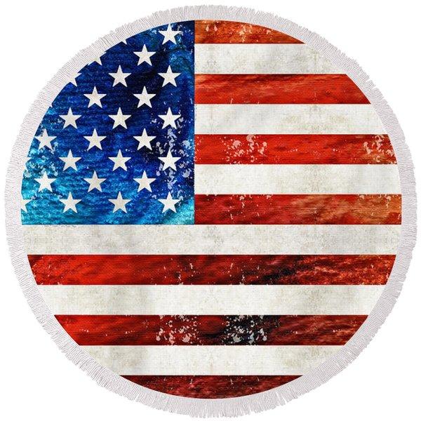 American Flag Art - Old Glory - By Sharon Cummings Round Beach Towel