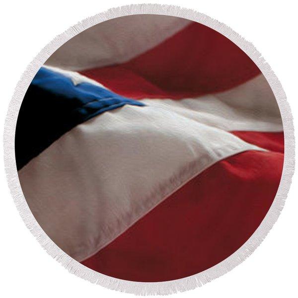 American Flag Painting Round Beach Towel