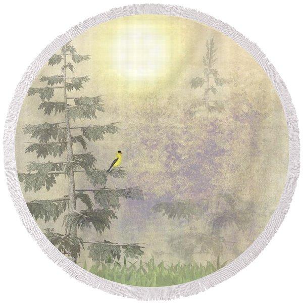 American Goldfinch Morning Mist  Round Beach Towel