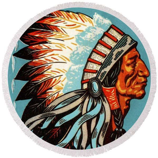 American Indian Chief Profile Round Beach Towel