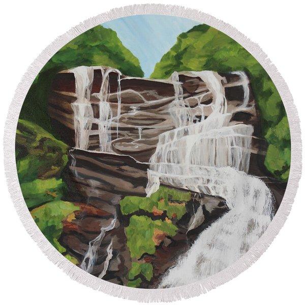 Amicalola Falls Round Beach Towel