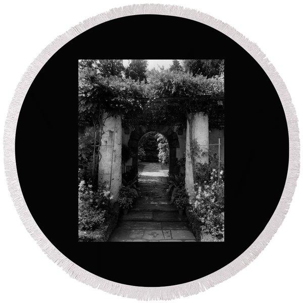 An Archway In The Garden Of Mrs. Carl Tucker Round Beach Towel
