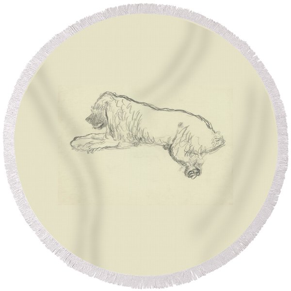 An Illustration Of A Dog Round Beach Towel