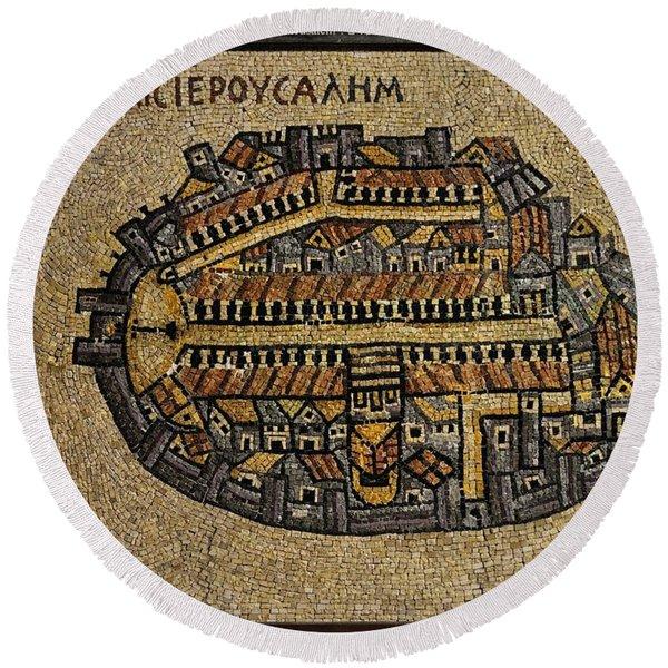 Ancient Jerusalem Mosaic Map Color Framed Round Beach Towel