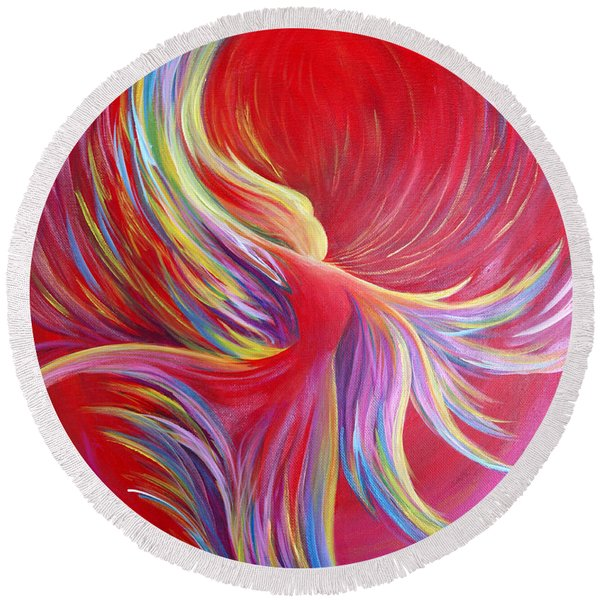 Round Beach Towel featuring the painting Angel Dance by Nancy Cupp