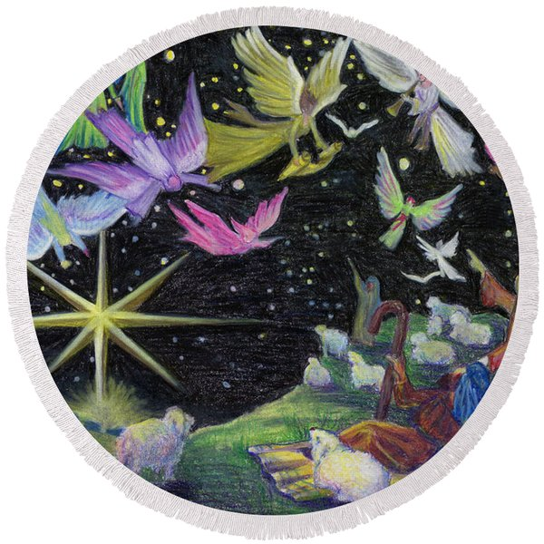Round Beach Towel featuring the painting Angel Skies by Nancy Cupp