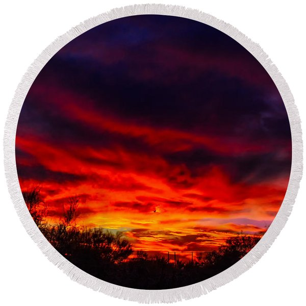 Another Tucson Sunset Round Beach Towel