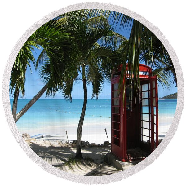 Antigua - Phone Booth Round Beach Towel