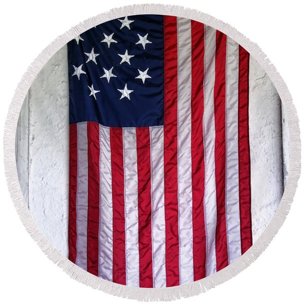 Antique American Flag Round Beach Towel