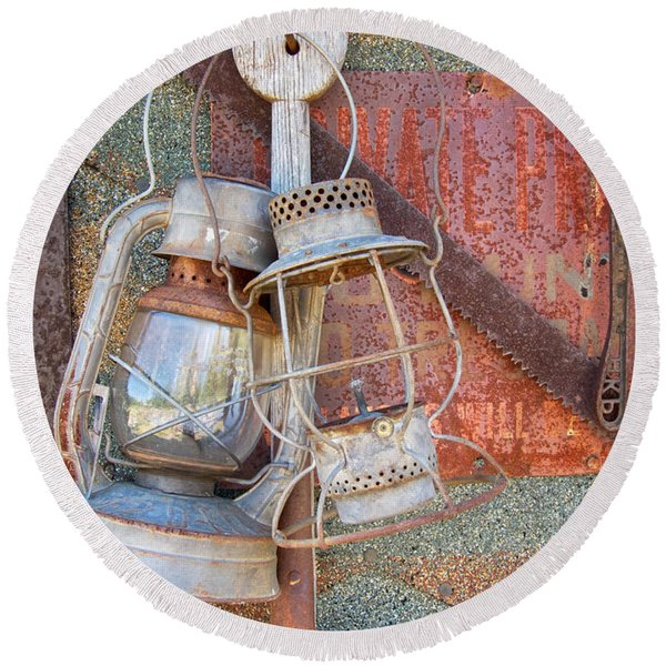 Round Beach Towel featuring the photograph Antique Kerosene Lamps by Mary Lee Dereske