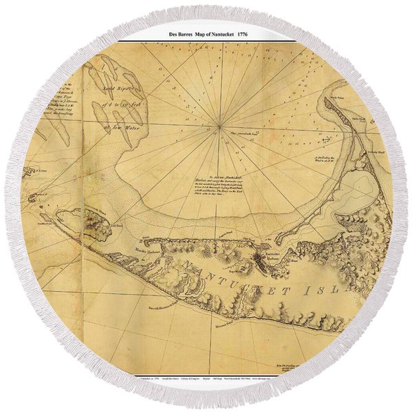 Antique Map Of Nantucket Round Beach Towel