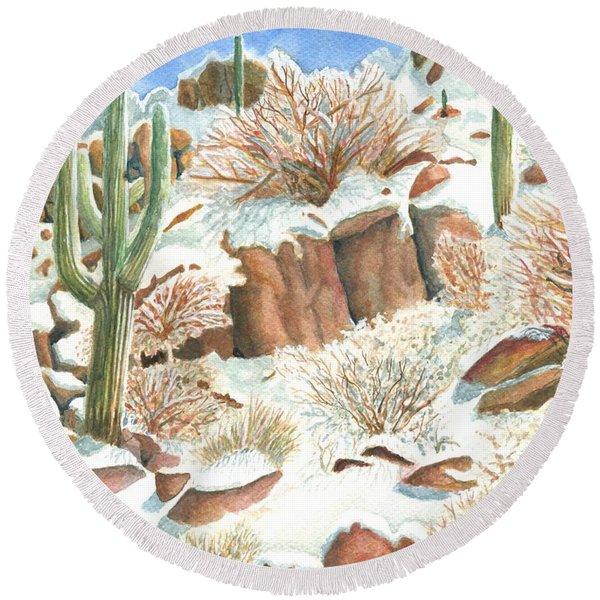 Arizona The Christmas Card Round Beach Towel