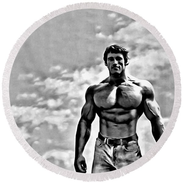 Arnold Schwarzenegger Round Beach Towel