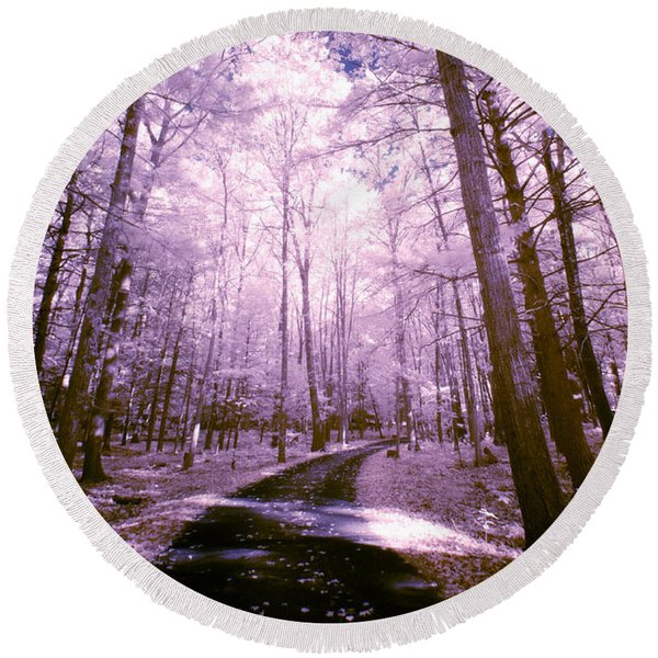 Path Through Trees Round Beach Towel