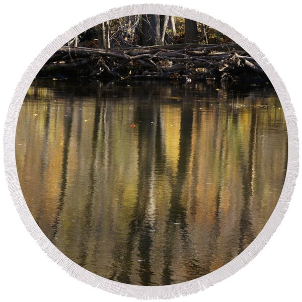 As Through A Leafless Landscape Flows A River Round Beach Towel
