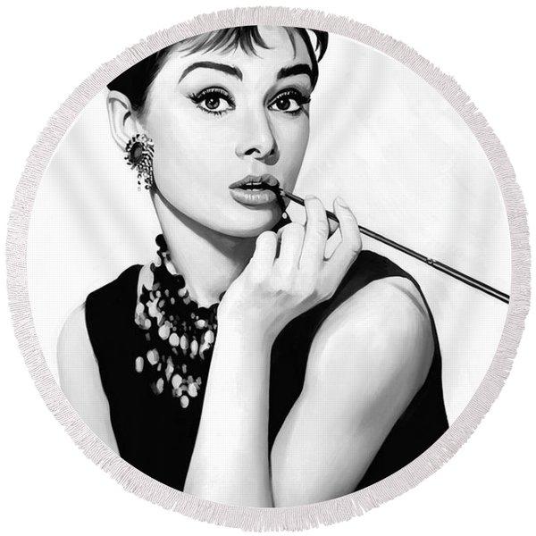 Audrey Hepburn Artwork Round Beach Towel