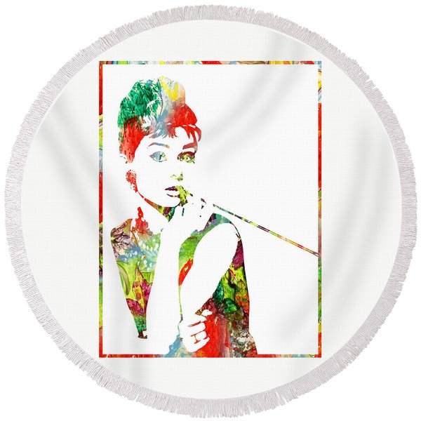 Audrey Hepburn - Watercolor Round Beach Towel